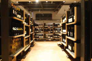 The wine department is on the top floor together with the top restaurants and the classrooms. The bottles are displayed by the region of production but customers can also find quality cask wine.